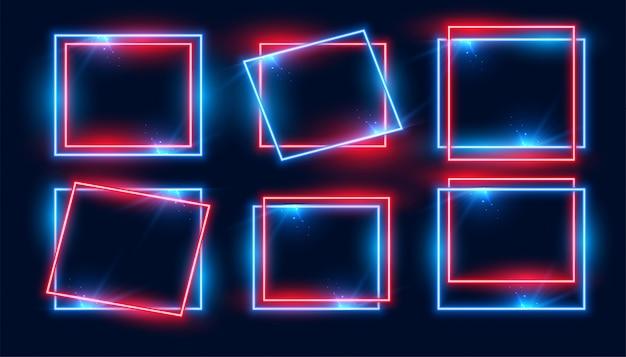 Conjunto de quadros de néon retangular vermelho e azul de seis