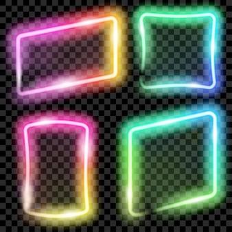 Conjunto de quadros de néon translúcido colorido em fundo transparente. transparência apenas em formato vetorial