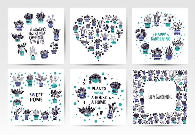 Conjunto de quadros de plantas em vasos de casa ou flores