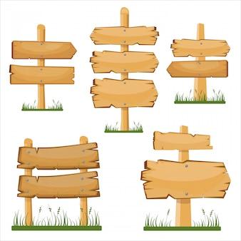 Conjunto de quadros de ponteiros de madeira