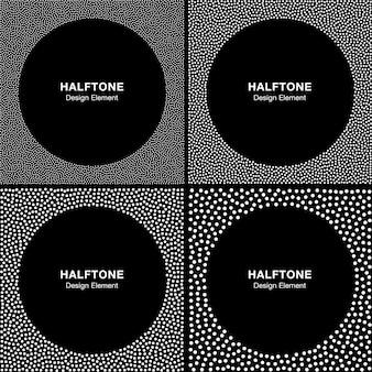 Conjunto de quadros de pontos brancos de meio-tom abstrato