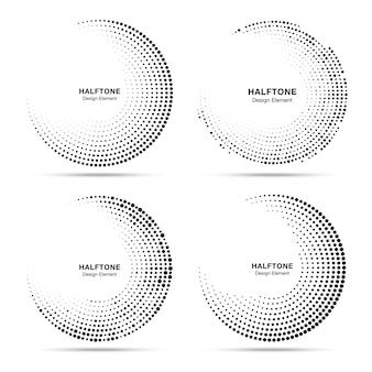 Conjunto de quadros de pontos de círculo de meio-tom.