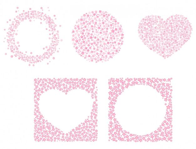 Conjunto de quadros-de-rosa bonitos para o dia dos namorados. ornamento de forma de coração de círculo. clipart editável isolado