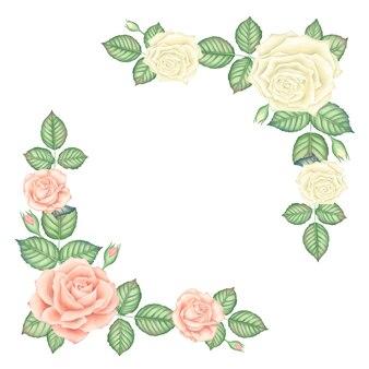 Conjunto de quadros de rosas rosa e branco vintage