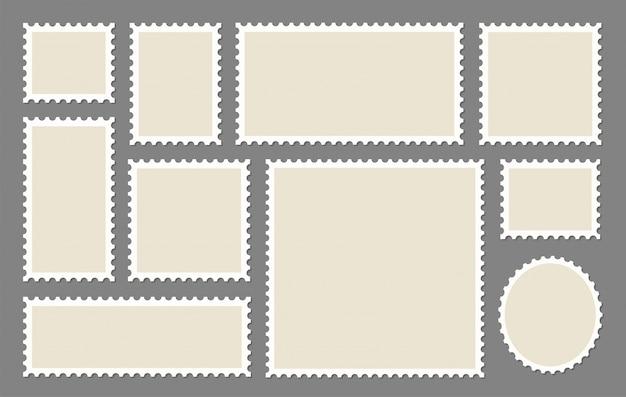 Conjunto de quadros de selos postais em branco
