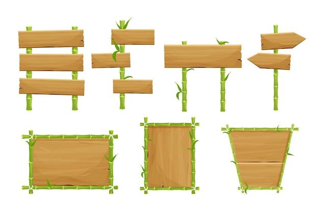 Conjunto de quadros de sinalização de bambu verde de pranchas de madeira em estilo cartoon