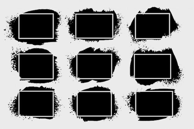 Conjunto de quadros de splatter grunge abstrato de nove