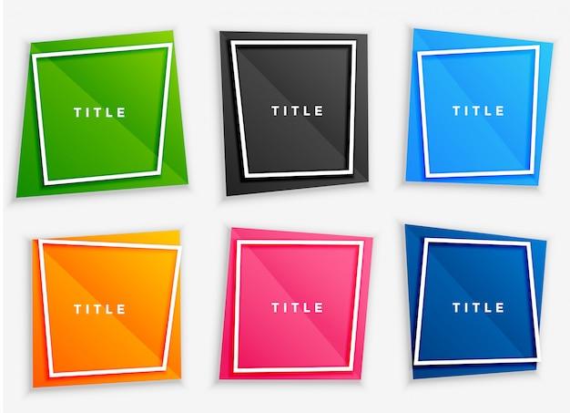 Conjunto de quadros de texto brilhante colorido