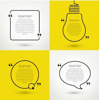 Conjunto de quadros de texto de citação. formato