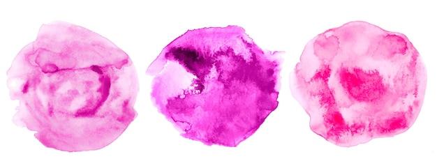 Conjunto de quadros de textura aquarela círculo abstrato rosa