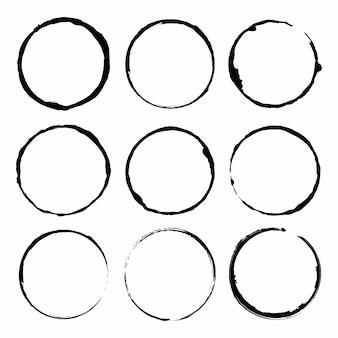 Conjunto de quadros de tinta de pincel círculo grunge