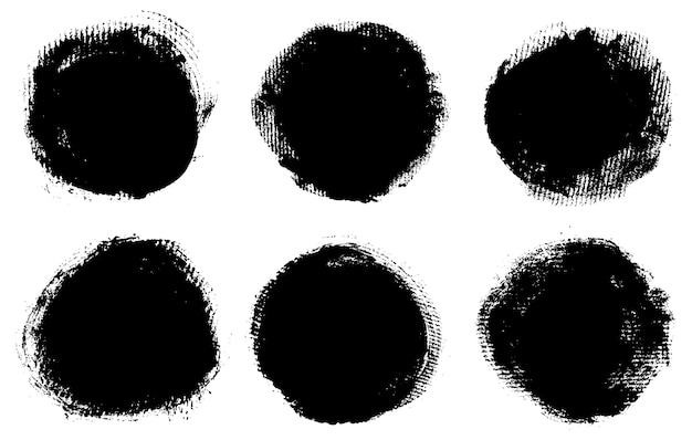 Conjunto de quadros de traçado de pincel redondo de grunge