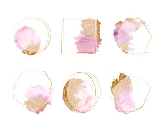 Conjunto de quadros de traçados de pincel aquarela