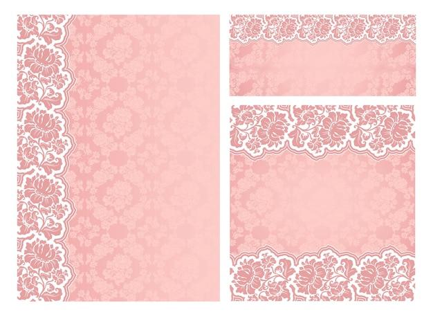 Conjunto de quadros de vetor de flores ornamentadas