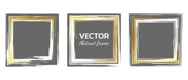 Conjunto de quadros de vetor de grunge de pinceladas quadradas elementos vintage e retro desenhados à mão