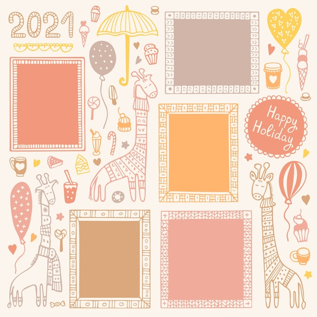 Conjunto de quadros desenhados à mão e girafas para decorar diário de bala, caderno, diário ou planejador.