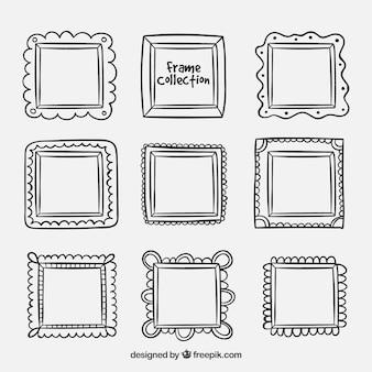 Conjunto de quadros desenhados à mão