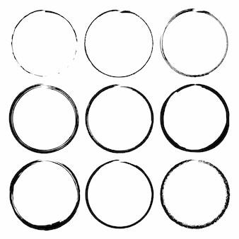Conjunto de quadros do grunge círculo escova tinta. conjunto de vetores
