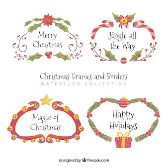 Conjunto de quadros elegantes de natal com aquarela