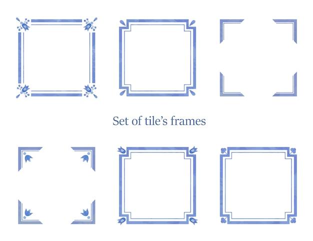 Conjunto de quadros em aquarela para decorações de azulejos