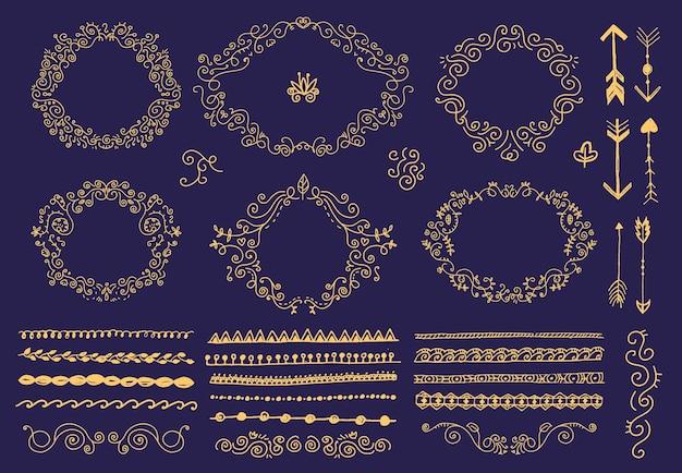 Conjunto de quadros florais desenhados à mão