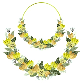 Conjunto de quadros florais, flores bonitos com moldura de círculo dourado e grinalda.