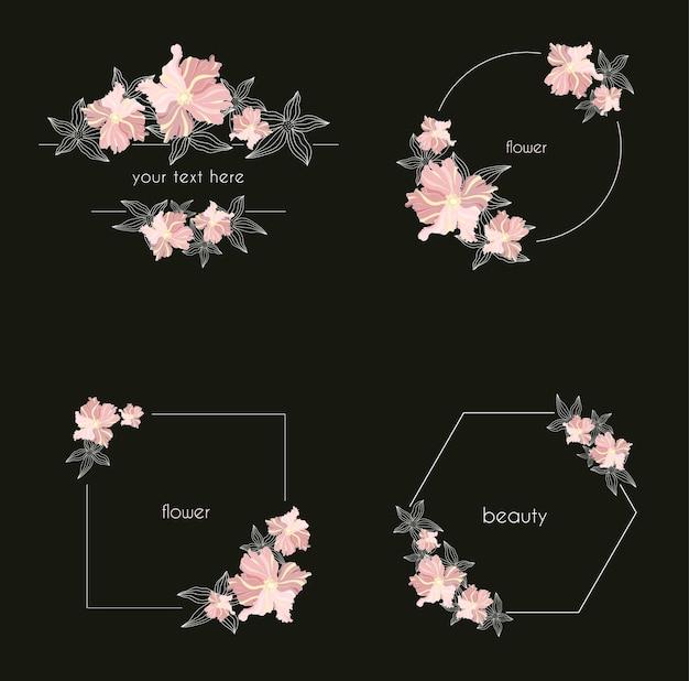 Conjunto de quadros florais geométricos com folhas e grinaldas