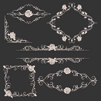 Conjunto de quadros florais ornamentais