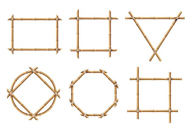 Conjunto de quadros geométricos de bambu