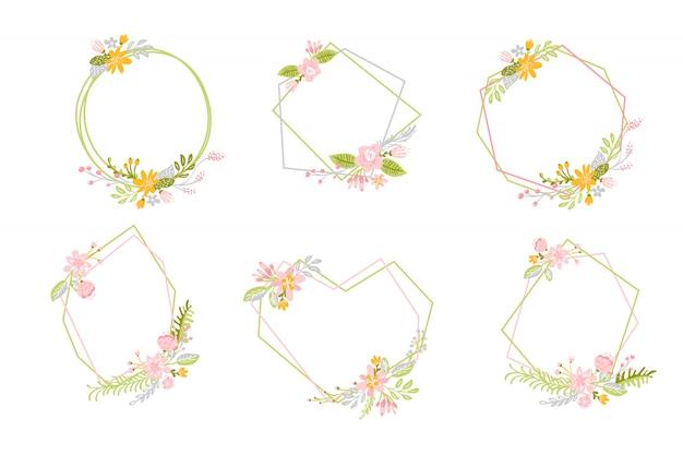 Conjunto de quadros geométricos de primavera com flor