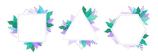 Conjunto de quadros geométricos decorados com plantas.