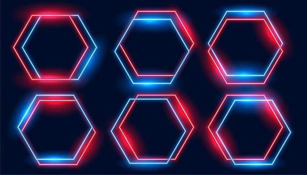 Conjunto de quadros hexagonais de néon nas cores azuis e vermelhos