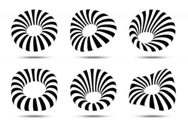 Conjunto de quadros listrados circulares 3d