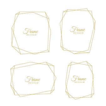 Conjunto de quadros mínimos de linha dourada geométrica