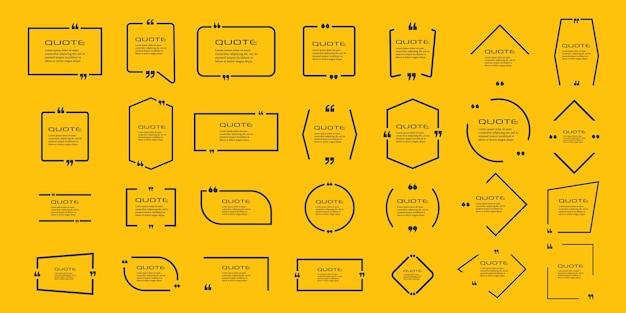 Conjunto de quadros para citações comentário de citação de bolha quadro de citações de texto