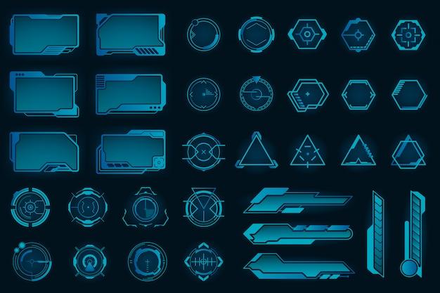 Conjunto de quadros planos de diferentes elementos do hud