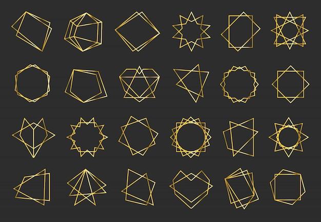 Conjunto de quadros planos geométricos dourados