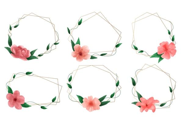 Conjunto de quadros poligonais dourados com flores elegantes