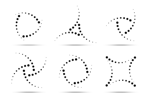 Conjunto de quadros pontilhados circulares de meio-tom. círculo de pontos
