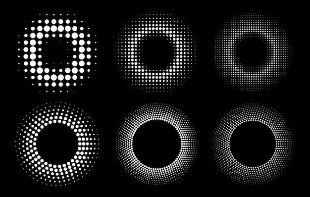 Conjunto de quadros pontilhados circulares de meio-tom. pontos do círculo isolados no fundo branco.