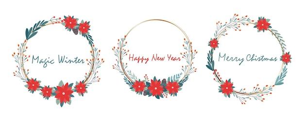 Conjunto de quadros redondos festivos com inscrições de congratulações. para a concepção de convites e cartões de natal e ano novo. gráficos vetoriais.