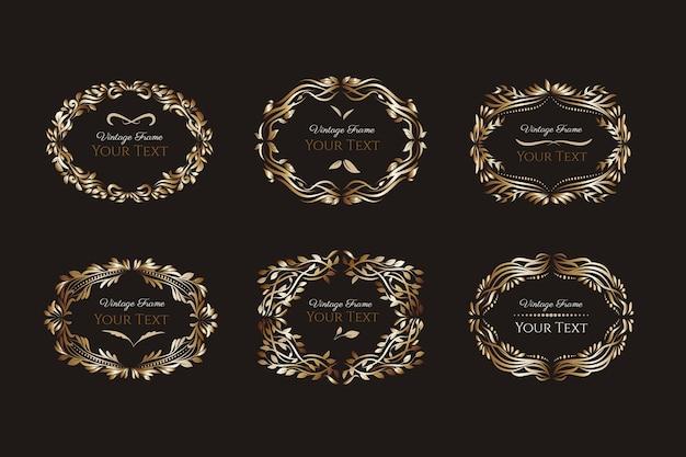 Conjunto de quadros retrô dourados