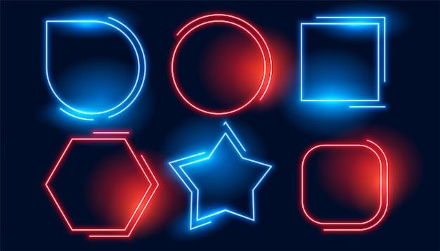Conjunto de quadros vazios de néon geométrico vermelho azul