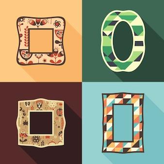 Conjunto de quadros vintage com flores coloridas e triângulos.