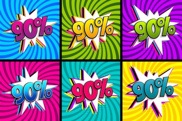 Conjunto de qualidade de 90 por cento do texto em quadrinhos.