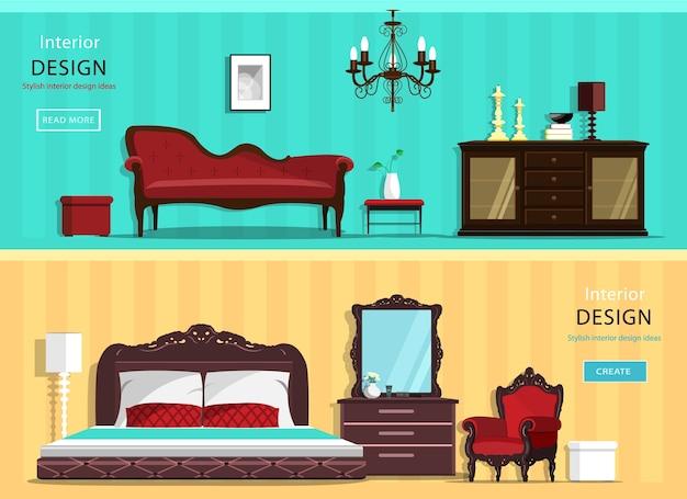 Conjunto de quartos de casas interiores vintage com ícones de móveis: sala de estar e quarto. ilustração.