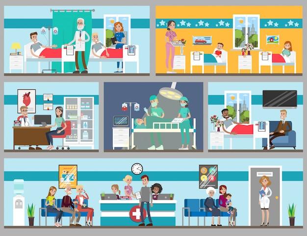 Conjunto de quartos de hospital. consultório e enfermaria, crianças e adultos.