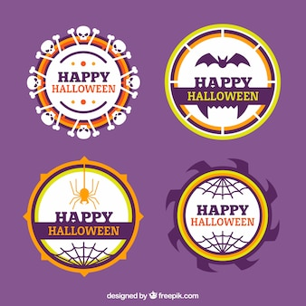 Conjunto de quatro adesivos de halloween em design plano