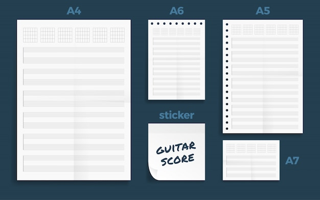 Conjunto de quatro amassado standart em branco partitura série papel a formato