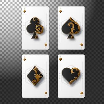 Conjunto de quatro ases jogando cartas naipes. mão de pôquer vencedora.